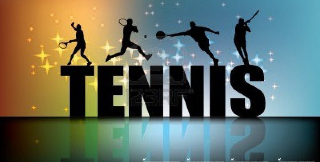 Tennis sign with players